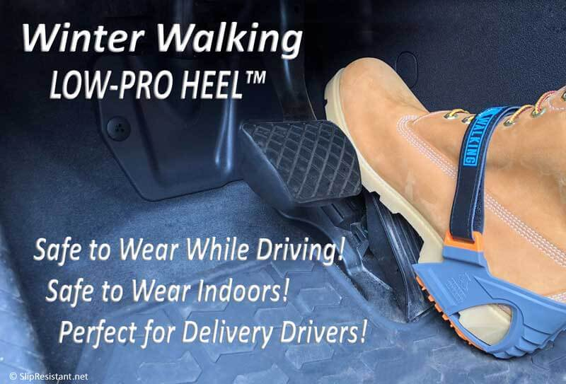 Delivery Driver Safely Driving Using LOW-PRO HEEL Ice Cleats